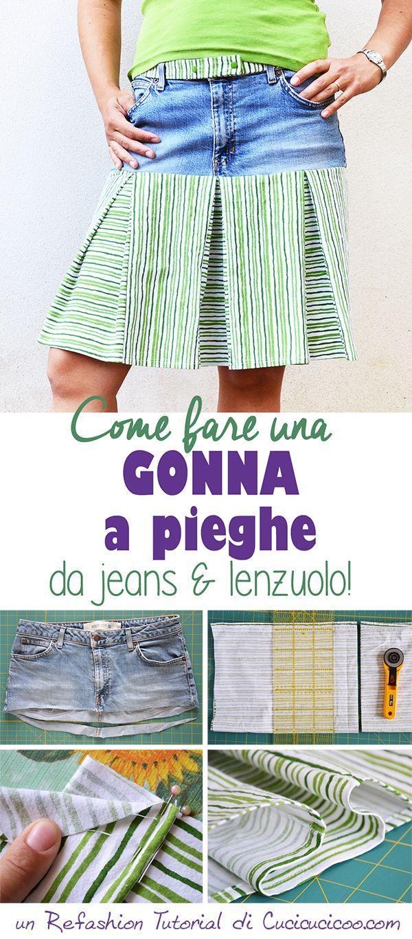 Trasforma jeans e un lenzuolo in una gonna comoda! Questo refashion tutorial per una gonna a pieghe mostra come misurare e tagliare per calzare perfettamente!
