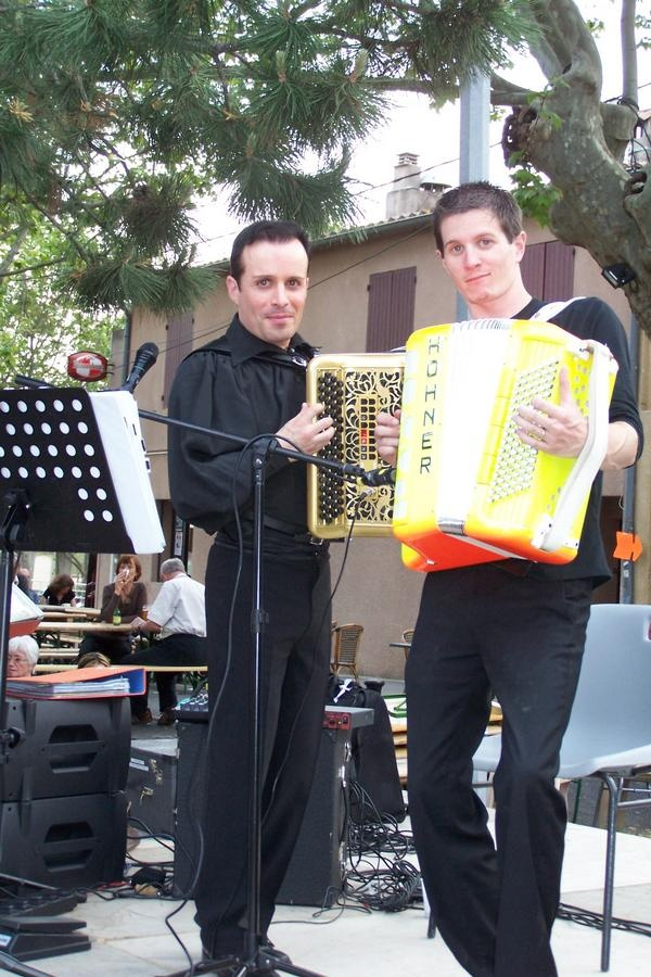 French bal-musette artist Tony Calves poses with the first yellow accordion I've seen.