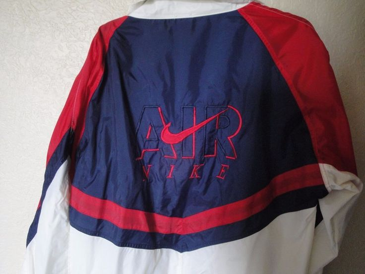 Vintage Nike Air Jacket Windbreaker Nylon 80s  90s RED White and Blue XL #Nike #Windbreaker