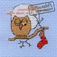 Stitchlets Christmas Card Cross Stitch Kit - Hopeful Owl - Giggle Squiggle