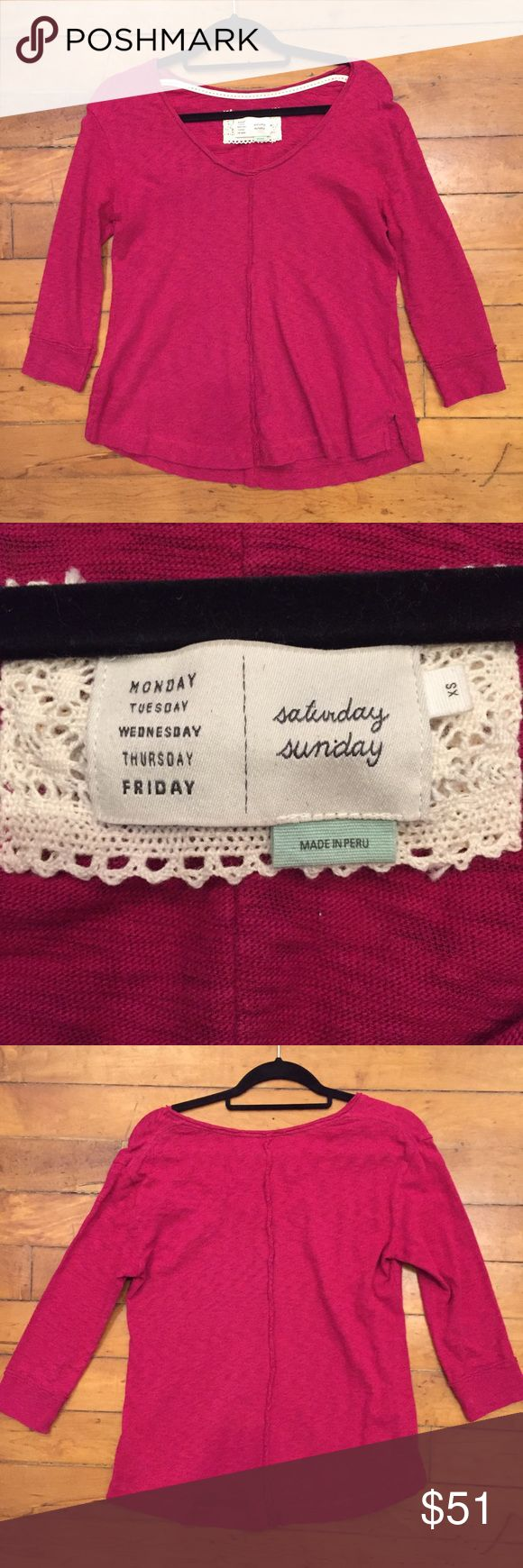 Anthropologie Brand Saturday Sunday Fuchsia Top Anthropologie brand called Saturday Sunday ⚜️I love receiving offers through the offer button!⚜️ Great condition, as seen in pictures! Fast same or next day shipping!📨 Open to offers but I don't negotiate in the comments so please use the offer button😊 p Anthropologie Tops