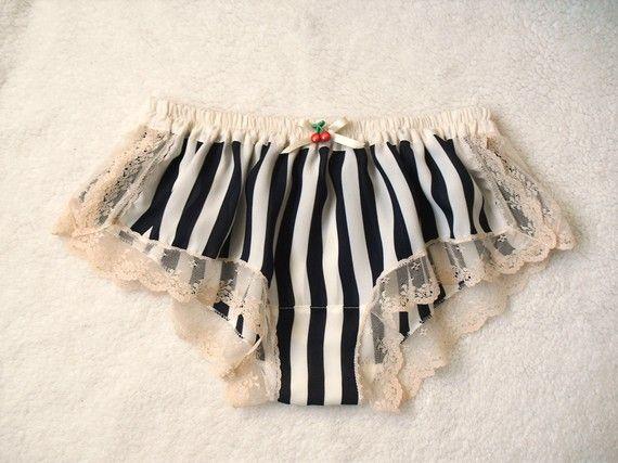 Striped Chiffon Sleep Boxer/style SAKURANBO(small). $35.00, via Etsy.