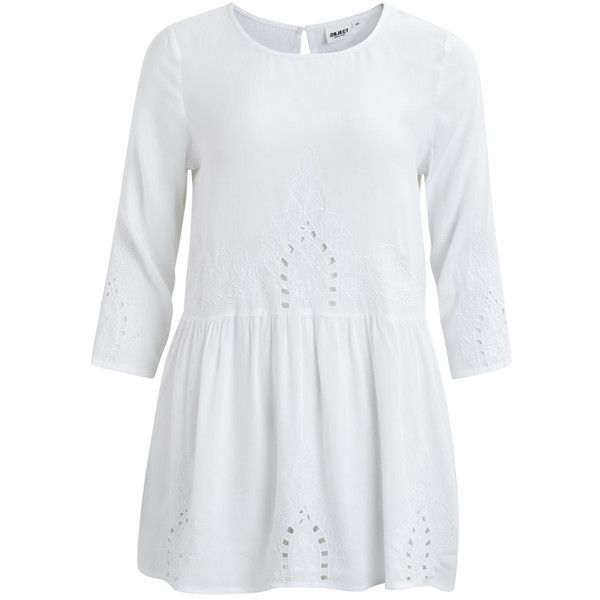Feminine Tunic | Object Collectors Items (68 CAD) ❤ liked on Polyvore featuring tops, tunics, white, embroidered top, rayon tops, viscose tops, white embroidered tunic and white tunic