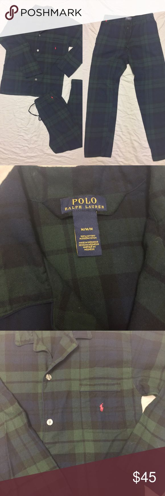 Polo Ralph Lauren plaid pajama set Excellent condition. Very comfy. I think this is technically a men's set but super cute for girls as well! Pants have pockets! Green and blue plaid with red pony on shirt and pants. These are sold as a set. Polo by Ralph Lauren Intimates & Sleepwear Pajamas