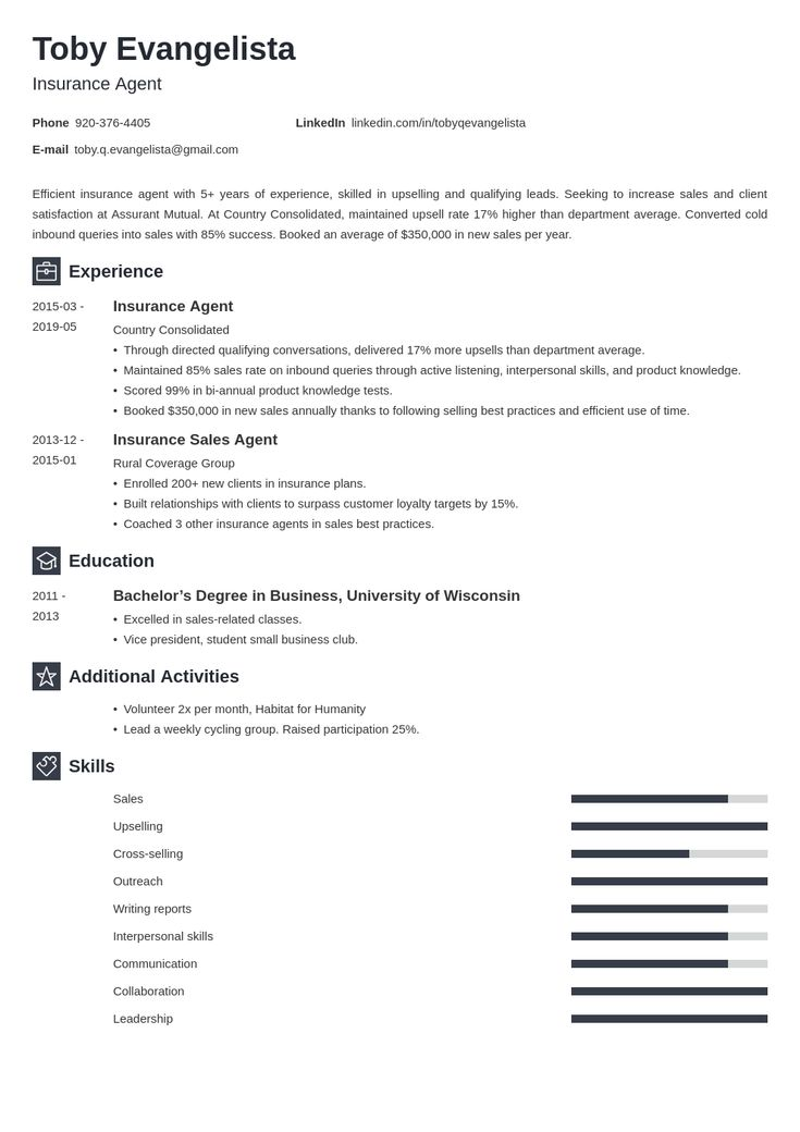 insurance agent resume example template newcast in 2020