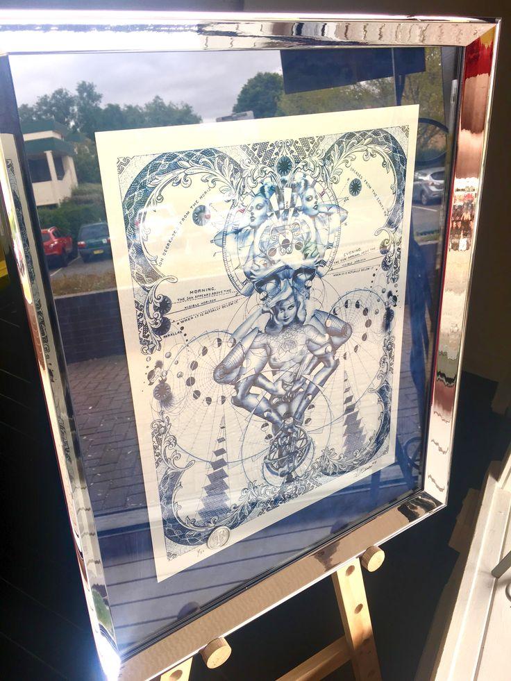 Print in aluminium by Handiedan custom framed with a debossed velvet mat and mirror finish frame