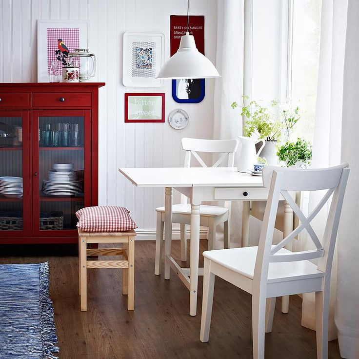 INGATORP white drop-leaf table seats 2-4 with INGOLF white chairs and ODDVAR stool in solid wood