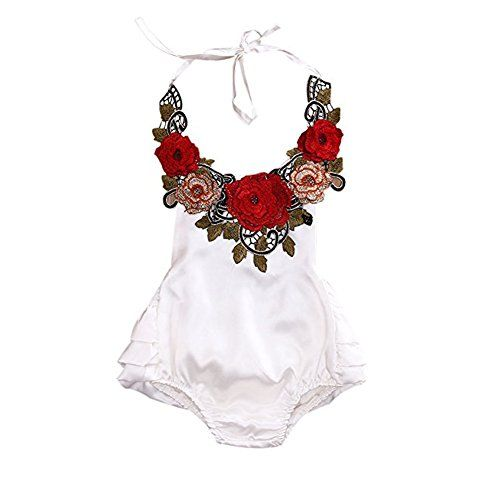 baby rompers | Baby Girl 3D Flower Applique Halter Floral Romper Backless Bodysuit Ruffle Sunsuit (6-12 Months, White)