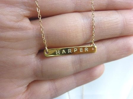 name bar necklace.