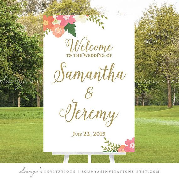 PRINTABLE Wedding Welcome Sign Pink Peach by soumyasinvitations