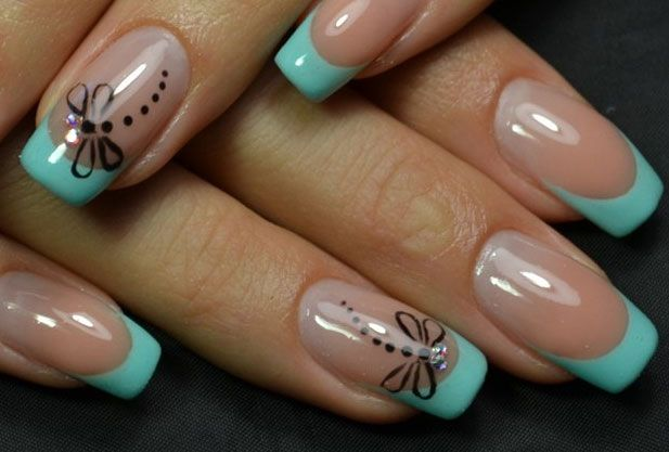 Spring gel French in the style of Tiffany. Firm mint turquoise is used for a smile. The other part of a nails is also fully consistent to a stated style. L