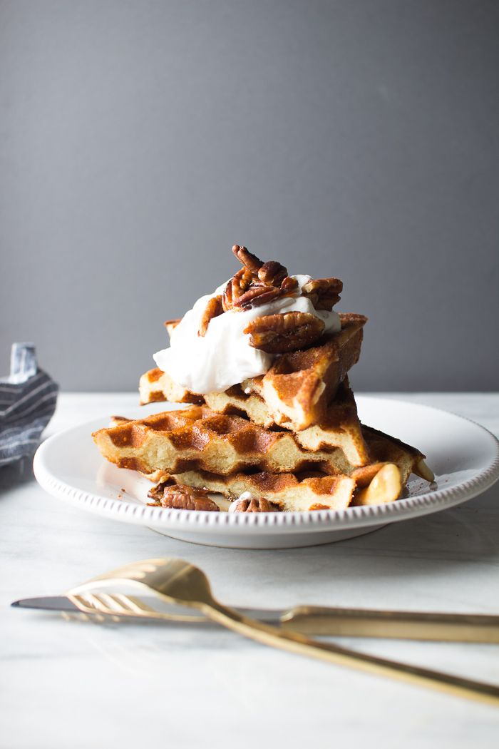 Light and Fluffy Waffles with Chantilly Cream and Maple Pecans | Flourishing Foodie