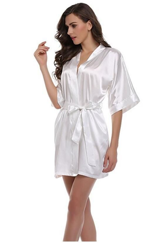 Women s Nightgown Satin Robes Belt Pajamas Sleepwear Nightdress Kimono Robe  Short Bathrobe. Yesterday s price  US  16.77 (14.49 EUR). 8d8401e784