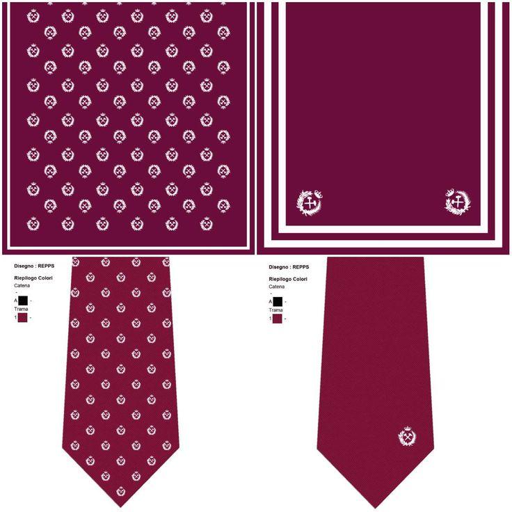 Estudo e desenhos personalizados para echarpes e gravatas com o logo do cliente colocado em diversas posições.
