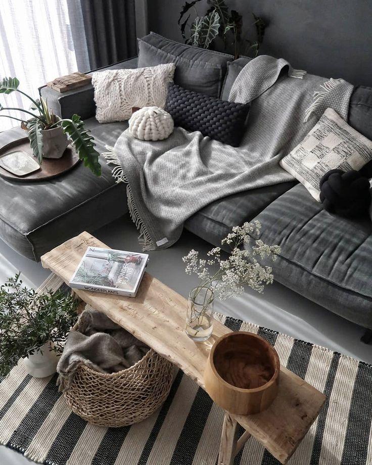 Deco Salon Gris Blanc Mur Wohnen Living Room Living Room