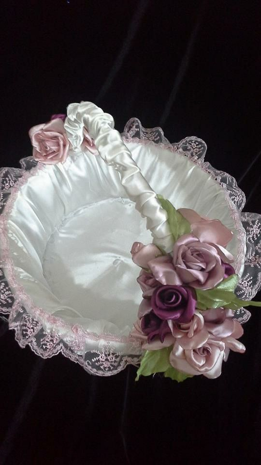FLOWER GIRL BASKET....PURPLE, GOLD. & IVORY COLORS.
