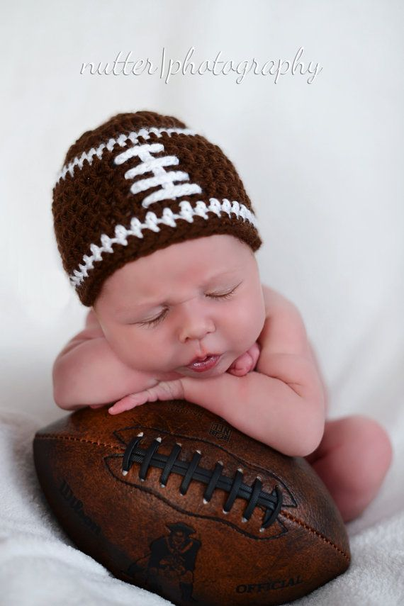 Crochet baby beanie FOOTBALL hat premie newborn 0-3 month infant - white pink or blue boy or girl photography photo prop on Etsy, $10.95