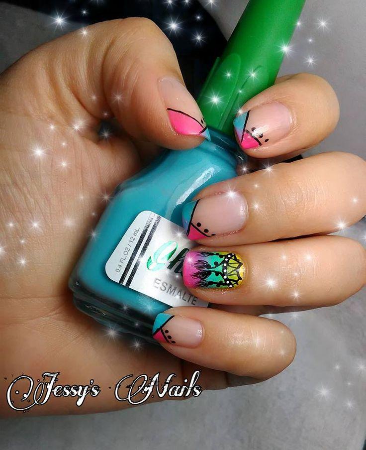 uñas modernas atrapasueños bonitas uñas degradadas con atrapasueños