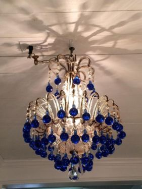 Rare Macaroni Beaded Blue Drop French Chandelier Rewired 2450 Country Garden Antiques 147 Parkhouse Dallas