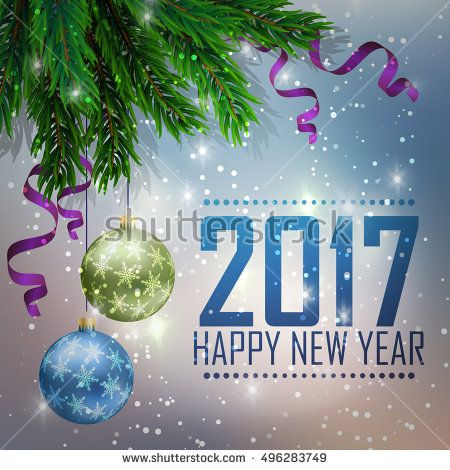 A fir-tree branch on it is violet a blue background, with the shining stars. Christmas and New Year greeting card. Vector illustration