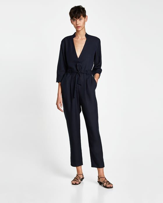 ZARA - WOMAN - CROSSOVER JUMPSUIT WITH BELT