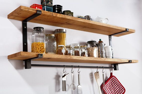 Large kitchen shelf of steel and solid wood oak with two floors and rack for the kitchen gadgets