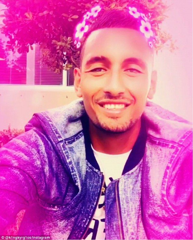 Tennis bad boy Nick Kyrgios in Snapchat video with floral pink filter