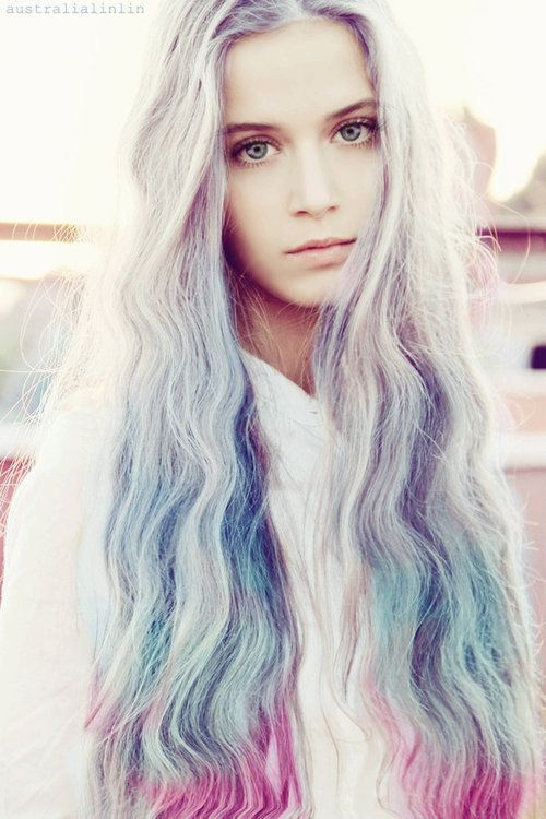 ℒᎧᏤᏋ Her Long Wavy Platinum Blonde To Blue To Pink Ombr 233