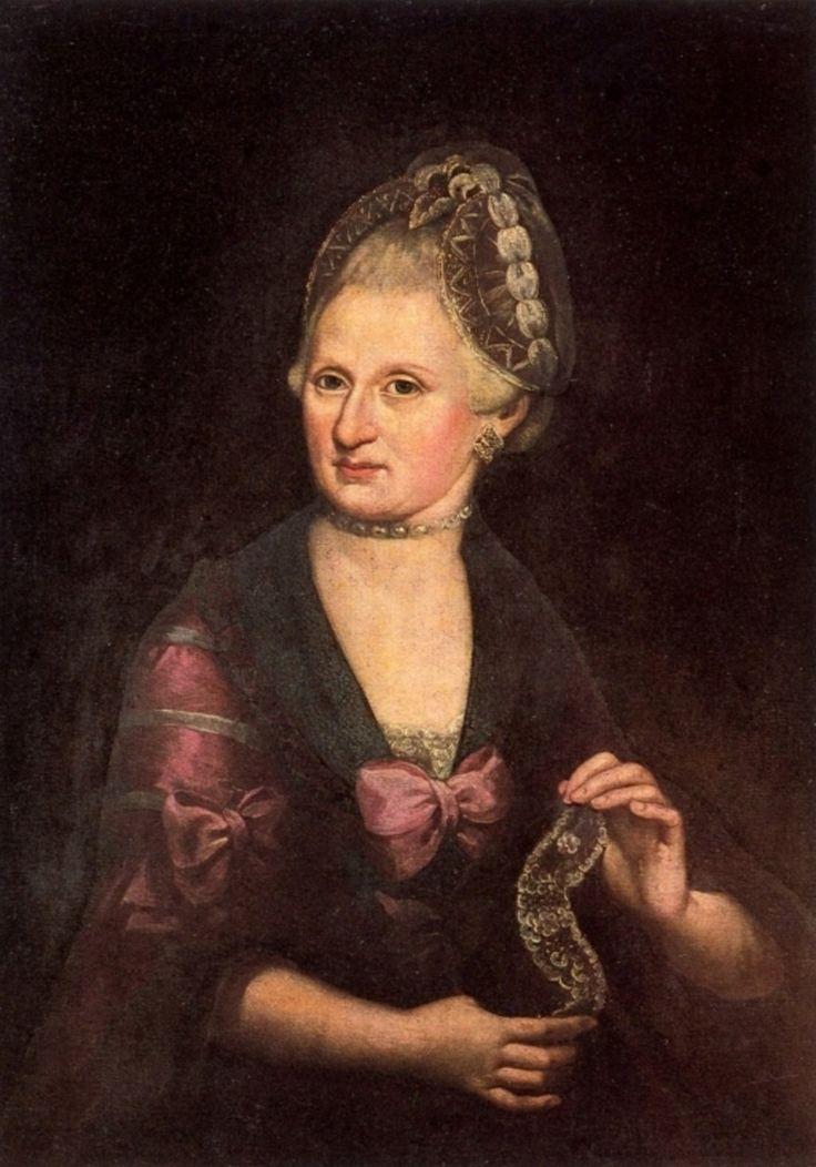 Anna Maria Mozart; Moeder van Wolfgang. Olieverfschilderij van Rosa Hagenauer-Barducci ca 1775. Het portret bevindt zich in het geboortehuis (museum) van Wolfgang in Salzburg.