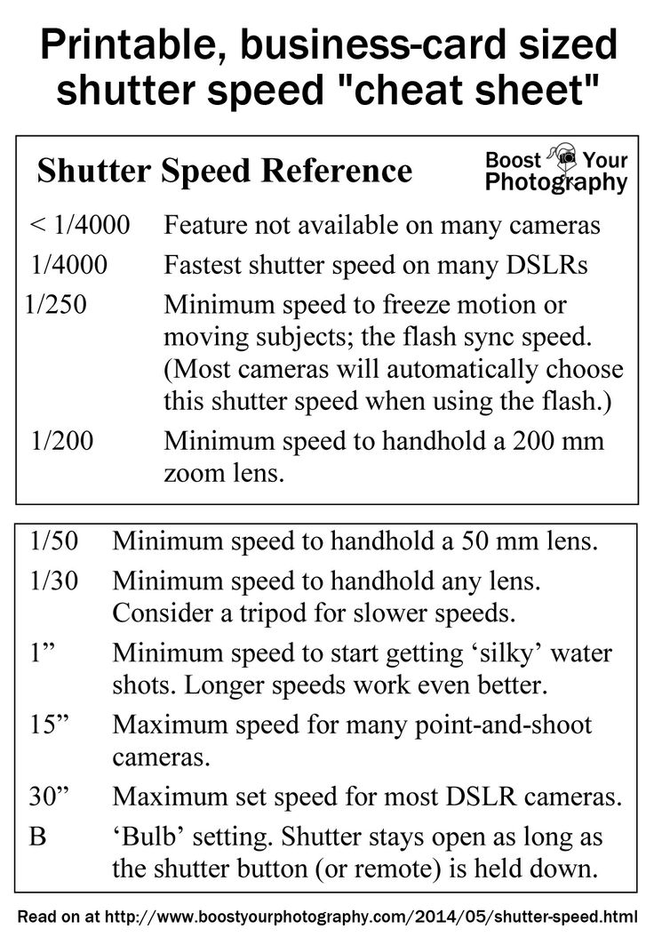 """Shutter Speed Guidelines - printable, business-card sized """"cheat sheet"""" 