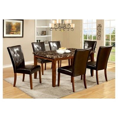 7-Piece Faux Marble Dining Table Set Wood/Antique Oak - Furniture of America
