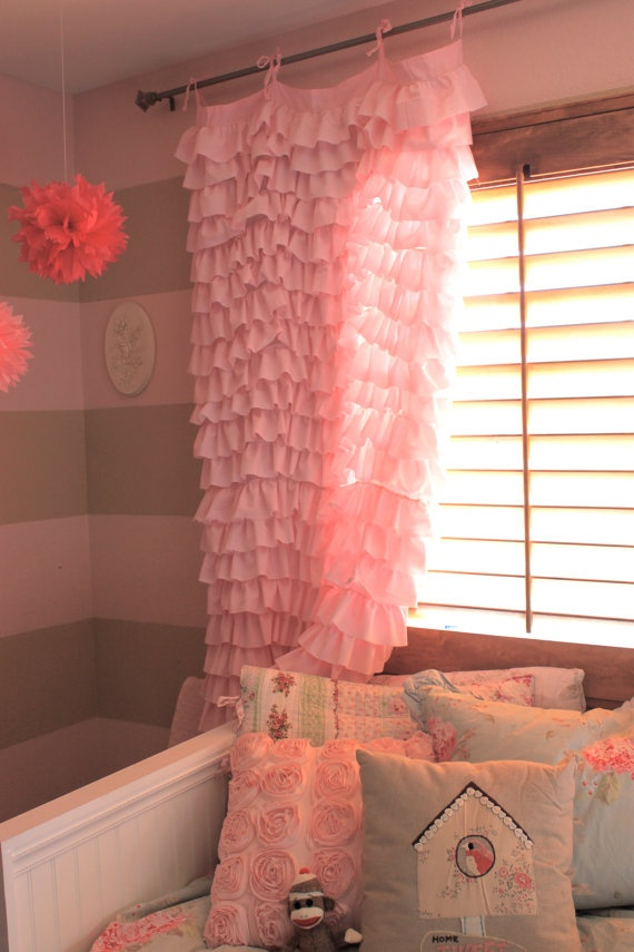 Curtains For Baby Girl Nursery: Pink Ruffle Waterfall Curtains