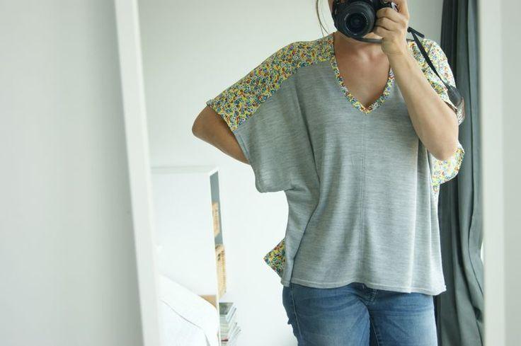 récup' #1 : la blouse kimono bicolore (+tuto) - le labO* d'isa