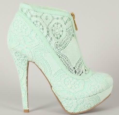 Crochet Lace Baby Turquoise Heels