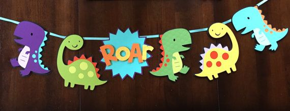 Roar! This banner is the perfect addition to your dinosaur party! The pictured banner measures approximately 30 inches in length with extra ribbon on each end for hanging. Each section measures approximately 6 inches in height. Made using high quality cardstock. Foam dots are used to