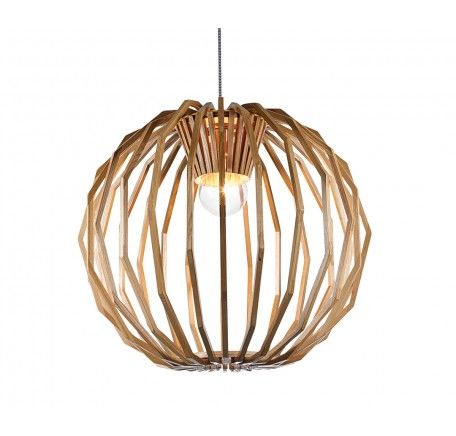 Beacon lighting - Stockholm 1 Light Large Round Pendant in Natural Wood | Pendant Lights | Lighting