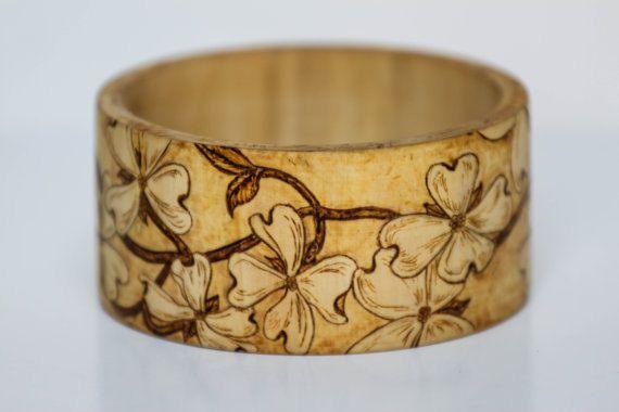 Pyrography Bangle Bracelet Custom Wood Burned Free Shipping. $55.00, via Etsy.