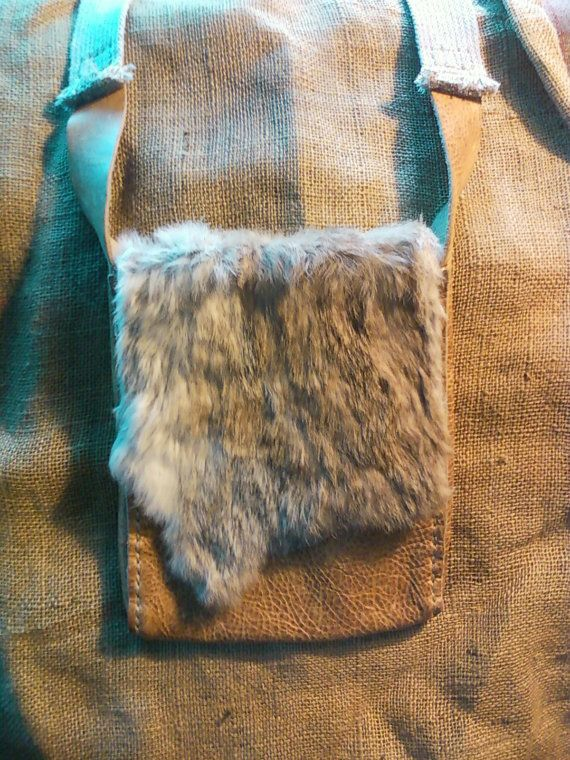 Hand Sewn Leather Possibles Bag with Rabbit Fur Flap by Heidi Clauson on Etsy, $140.00