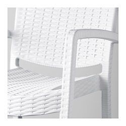 IKEA - INNAMO, Chair with armrests, outdoor, white, , You can have several chairs on hand without taking up more room, as they are stackable.The materials in this outdoor furniture require no maintenance.The chair will look fresher and last longer, as the plastic is both fade resistant and UV stabilised to prevent cracking and drying out.
