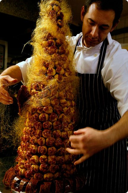 Croquembouche Wrapped In Spun Sugar