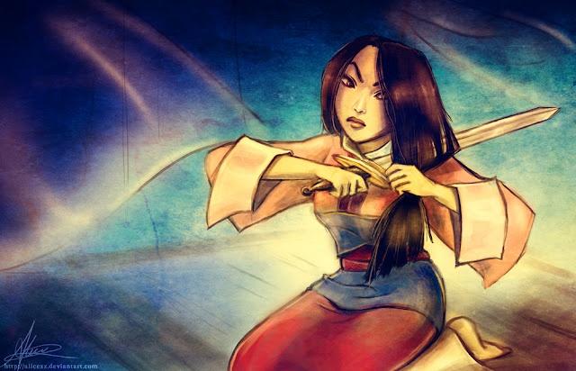 Esta chica es asiática, tiene el pelo largo y negro, lleva puesto un kimono azul y rojo. Su espada parece vieja, y su expresión facial indica rábia o coraje.