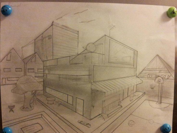 dit is een tekening van mij uit de derde klas die ik heb gemaakt met de twee punt perspectief techniek.