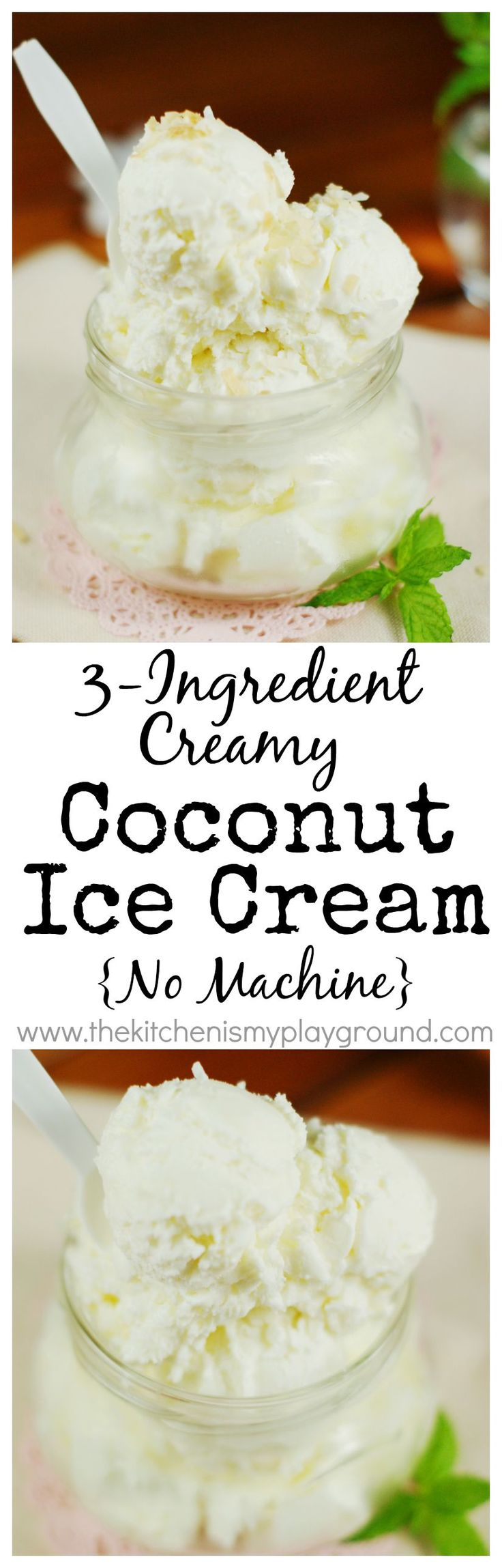 3-Ingredient Creamy Coconut Ice Cream ... with no machine needed! www.thekitchenismyplayground.com
