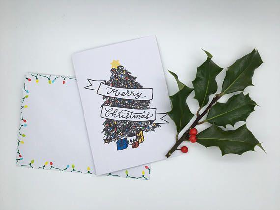 Merry Christmas card Greetings card pack handmade card hand