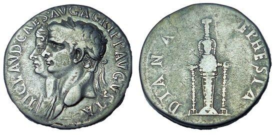 Ancient Coins - Claudius, with Agrippina Junior, AR Cistophorus. Ephesus, AD 50