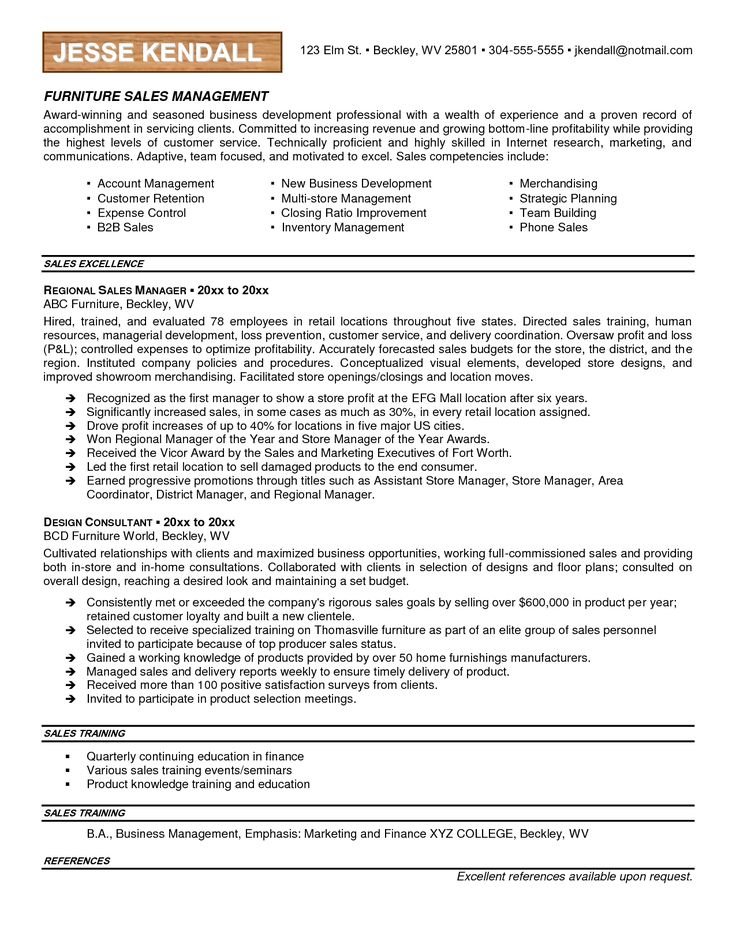 99 best Resumes images on Pinterest Curriculum, Resume and Cookware - furniture sales resume sample