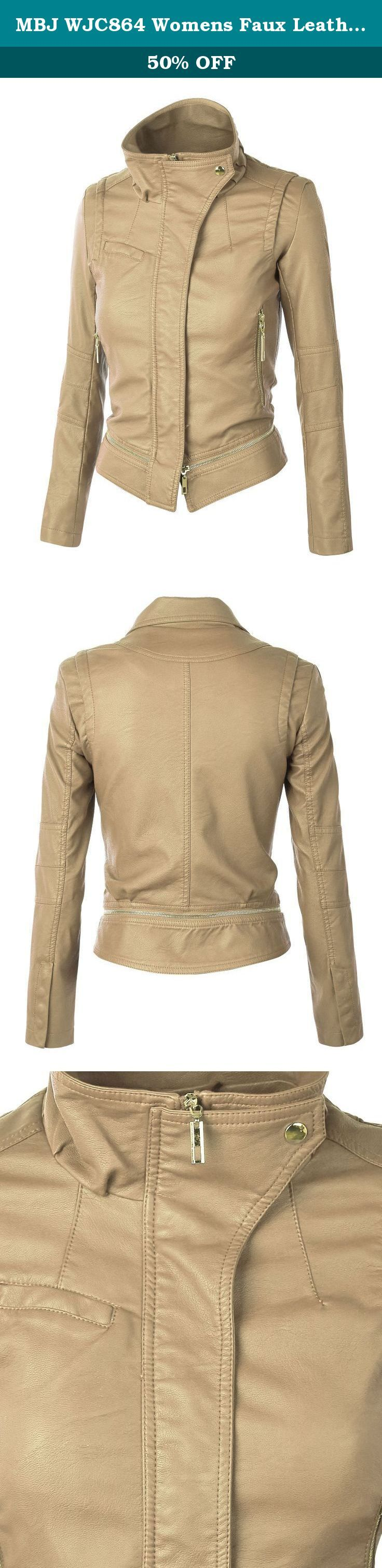 MBJ WJC864 Womens Faux Leather Mock Collar Zip Up Biker Jacket L KHAKI. The 2 for one length motocycle style jacket. A detachable zippered bottom panel can be removed and turns into a crop jacket or keep it regular length. Made out of faux leather and jacket is fully lined. Featured a zippered front with a snap high -collar and zippered pockets. Wear it with everything.