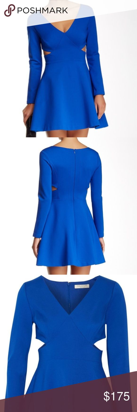 """Halston Heritage A-Line Side Cut Out Dress Halston Heritage bright cobalt royal blue deep v neck side cut out long sleeve structured a-line, fit and flare formal dress. worn once to a wedding. In excellent condition. Retails at $495. Model is 5'2, 140lbs. Dress has a LOT of stretch to it, but is thick and tucks everything in for a slimming overall effect. Length (from shoulder): 32"""", Width (armpit to armpit): 16"""". Feel free to make an offer! Halston Heritage Dresses"""