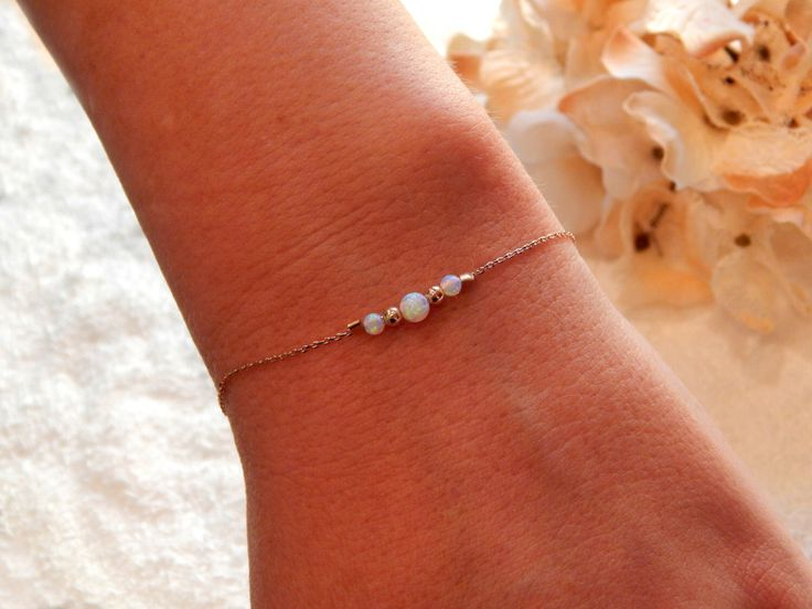 Opal Bracelet, Rose Gold, Gold or Silver Bracelet, Minimal Jewelry, Girlfriend Gift, Gift for Her, White Opals [932] by SimpleAndLayered on Etsy https://www.etsy.com/listing/258248269/opal-bracelet-rose-gold-gold-or-silver