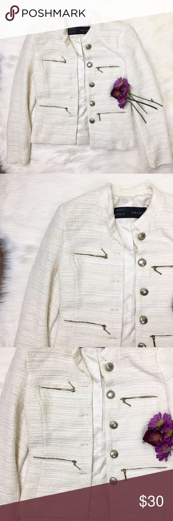 beautiful Zara jacket beautiful mixture of white and off white color, dress up or down! super cute addition to an outfit! Zara Jackets & Coats